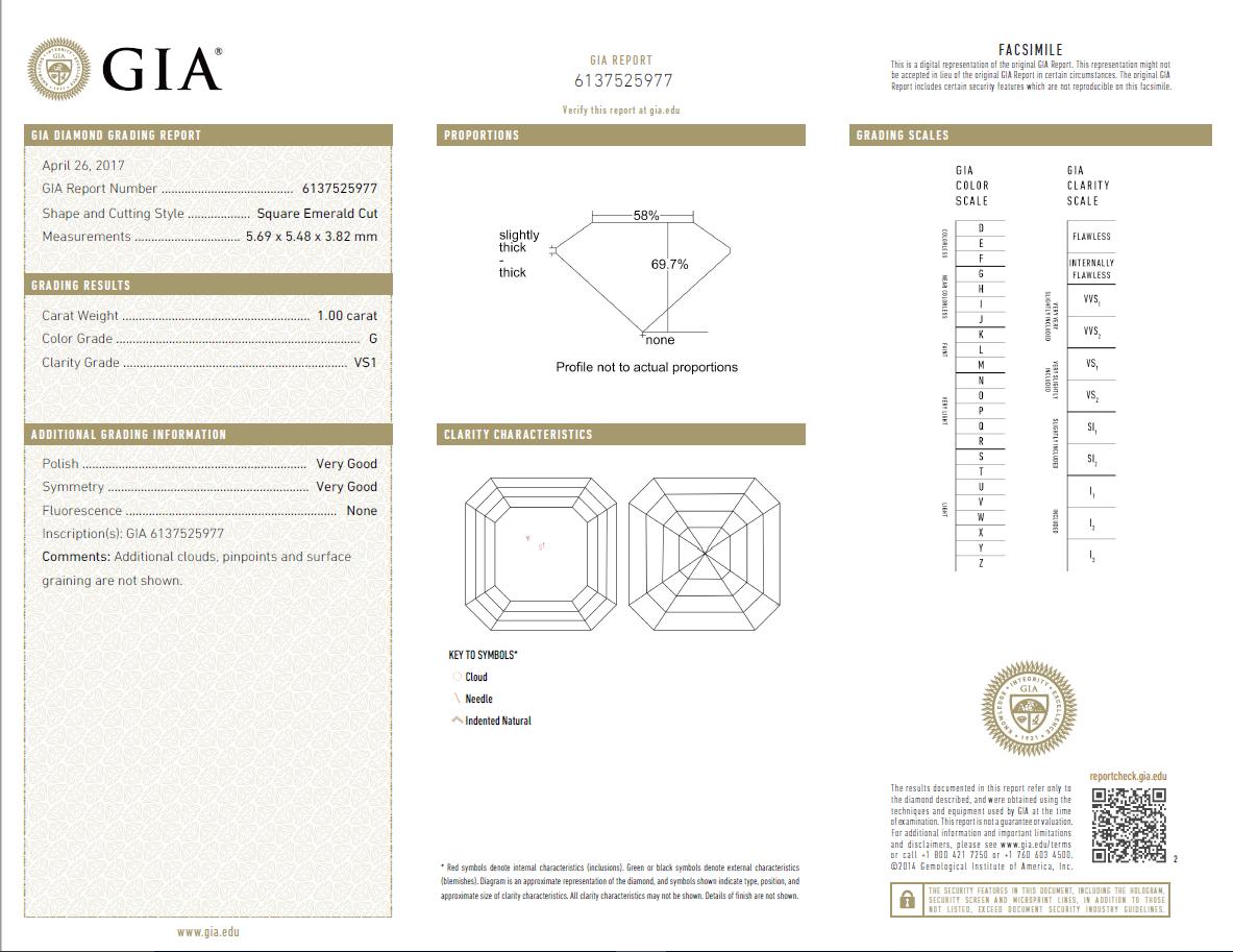 1 Carat Loose G / VS1 Asscher Cut Diamond GIA Certified