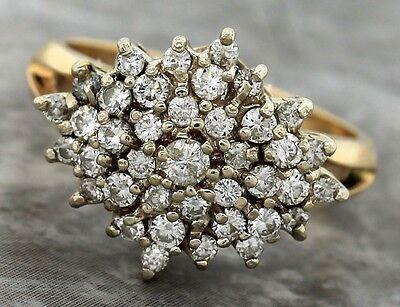 Ladies Vintage 1960s Estate 14K 585 Yellow Gold Cluster Diamond Cocktail Ring