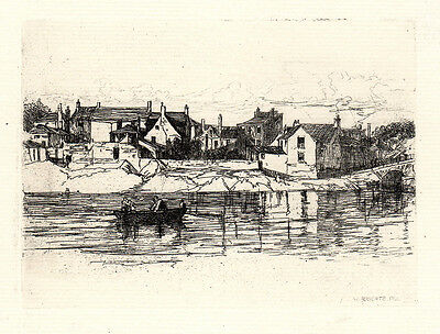"""William ROBERTS ORIGINAL 1800s Etching """"Boating up the River Wye"""" SIGNED COA WOW"""