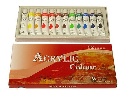 12 COLORS ACRYLIC PAINTS 12 ml each Rainbow Pigments - ARTIST PAINTING SUPPLIES