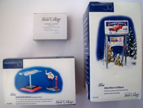 Lot of 3 Department 56 Snow Village Pieces Ford Billboard Service Parking dept