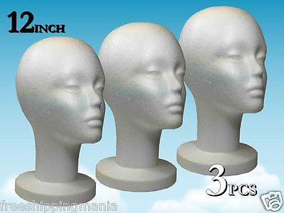 Wig Styrofoam Head Foam Mannequin Display 12 3pcs