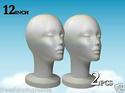 Wig Styrofoam Head Foam Mannequin Display 12 2pcs