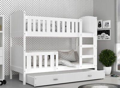Hochbett 190x80 Etagenbett Kinderbett Bett Matratze Bettkasten TAMI Weiß NEU