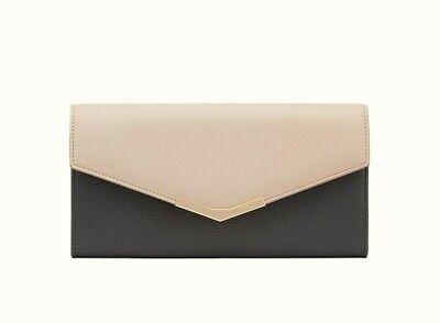 Fendi Womens Medium Pink Grey Bicolor 2Jours Leather Wallet Authentic MSRP $650