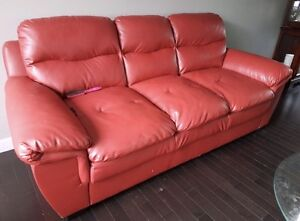 Beautiful Red Leather Couches 2 Piece