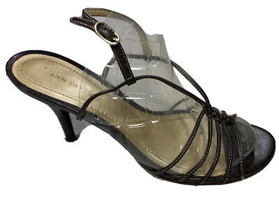 ANN TAYLOR Heels Sz 6.5 Brown Leather Sandal Strappy Leather Sole Brazil