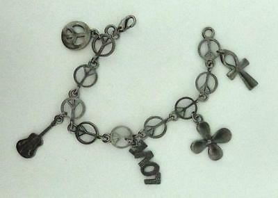 Peace Sign Link Bracelet with Charms in Gunmetal (Gunmetal Link Bracelet)