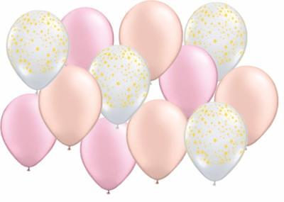 12 PC Gold Stars Pink and Pearl Peach Latex Balloons CLASSY Shower FREE SHIP](Gold And Pink Balloons)