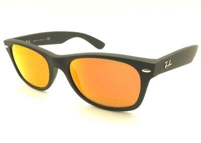 AUTHENTIC Ray Ban New Wayfarer 2132 622/69 Matte Black Rubber Orange Mirror