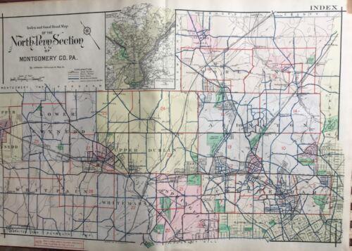 ORIG 1916 A.H. MUELLER, MONTGOMERY, COUNTY, PENNSYLVANIA INDEX PAGE ATLAS MAP