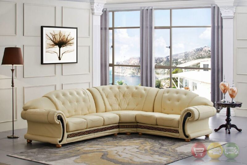 Versace Cleopatra Cream Italian Top Grain Leather Right Chaise Sectional Sofa