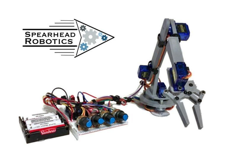 DIY Robotic Arm Claw Arduino Kit with Online Tutorial Course/ Spearhead Robotics