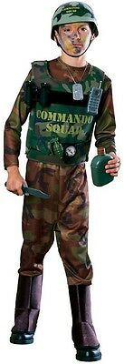 Boys Army Costume COMPLETE SET Camo Camouflage Military Outfit Vest Child Kids - Male Army Costume