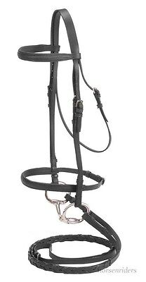 Padded English Snaffle Bridle and Reins - Black Leather - Full Horse Size