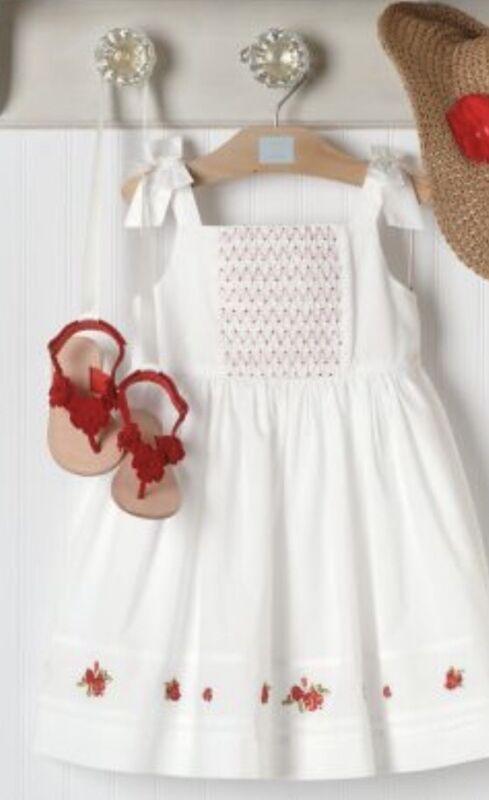 "NWT Girls 3 Janie & Jack ""CAMELLIA SUMMER"" Cotton White/Red Smocked Bodice DRESS"