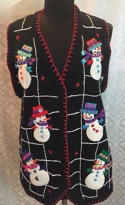 Bp Design Damen Große Weihnachten Pullover Weste Schneemann L Winterurlaub