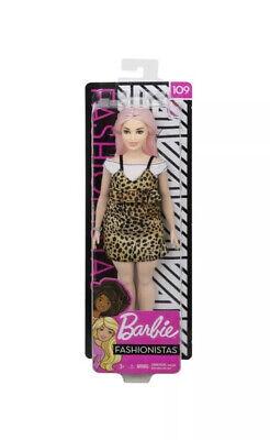 """Barbie Fashionistas: #109 Leopard Dress w/Pink Hair Curvy 11"""" Doll"""