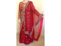 Stunning Deep Red Embroidered Indo-Western Bridal/Ball Dress - BRAND NEW!