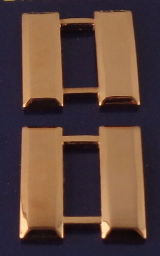 """CPT Capt Captain Bars POLISHED GOLD 1"""" LARGE Pair Collar Rank Pins police"""