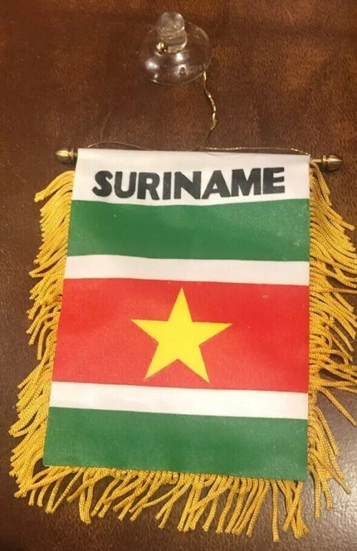 "Suriname 🇸🇷 4 X 6"" MINI BANNER FLAG CAR WINDOW MIRROR HANGING W Suction New"