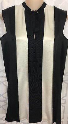 Lanvin Top Black And White Stripe W/  Tie Size 36 NEW $1495