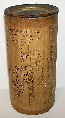 RARE 1880's U.S POSTAL SERVICE LIQUIDS WOOD MAILING CASE TUBE FANCY GAP VIRGINIA