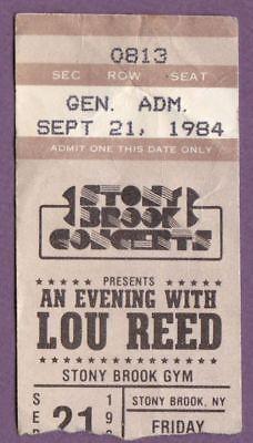 Lou Reed 1984 Sep 21 Show Ticket Stub Stony Brook NY Original