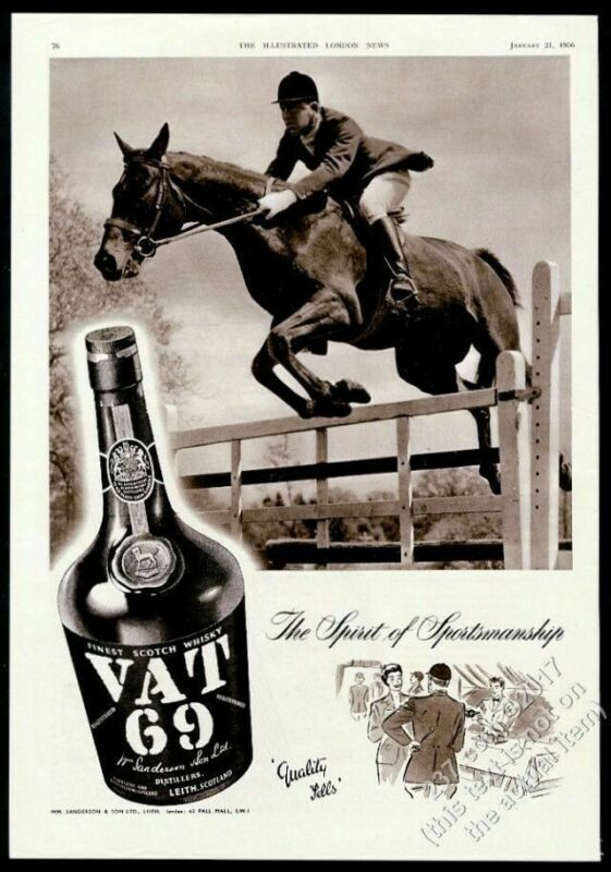1956 horse jumping gate photo Vat 69 Scotch whisky vintage print ad
