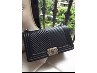 Chanel Le Boy (Dupe) handbag lamb skin black medium size.
