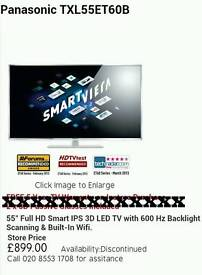 Panasonic 55inch smart 3d tv And remote