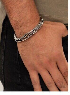 "Paparazzi ""Rustic Reveler"" Silver Urban Cuff Bracelet"