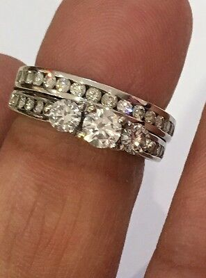 14k white Gold 1.47 ct Diamonds Engagement Ring Round Wedding Band Set