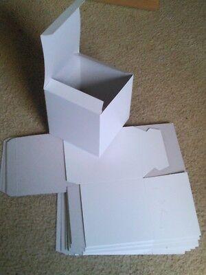 Lot Of 5 U-fold White Gift Boxes 5 X 5 X 5 - Free Shipping