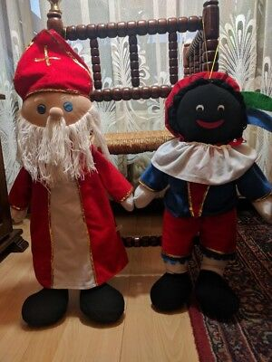 Dutch Christmas St Nicolas and Black Pete Jumbo Rag Dolls Rare 27.5 inch 1980s ()