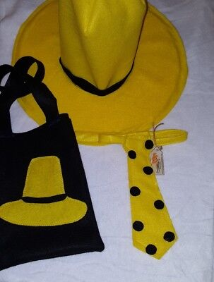 ADULT HAT Tie & Tote Bag Man in the yellow hat Curious George Halloween costume