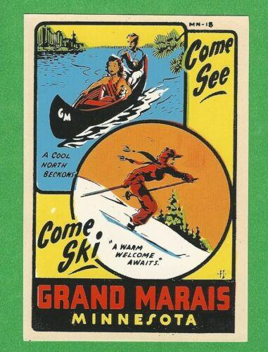 "VINTAGE ORIGINAL 1950 SOUVENIR ""GRAND MARAIS"" MINNESOTA TRAVEL WATER DECAL ART"