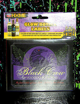 8 HALLOWEEN WINE / LIQUOR BOTTLE LABELS glow in the dark vampire blood zombie - Blood Label Halloween