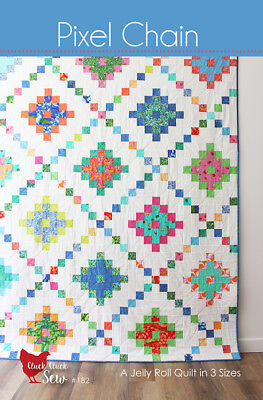 Quilt Pattern PIXEL CHAIN Moda CLUCK CLUCK SEW 3 Sizes JELLY ROLL covid 19 (Chain Quilt Pattern coronavirus)