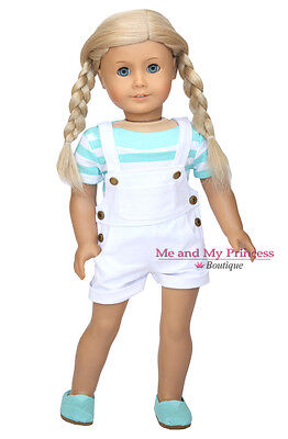 WHITE DENIM OVERALLS SHORTS + TOP + SHOES for 18 inch American Girl Doll Clothes