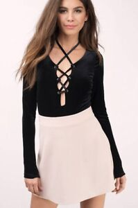 Black Velvet Lace-Up Bodysuit (Small) New With Tags
