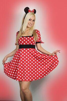 Sexy de Mujer Halloween Mujer Rojo Minnie Mouse Disfraz 8-14](Disfraz De Minnie Halloween)