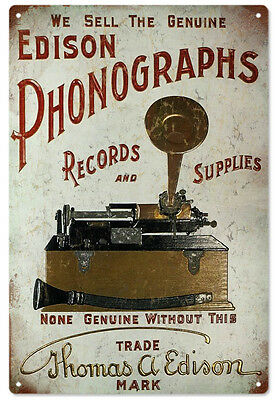 Edison Phonographs Records and Supplies Advertisement Sign