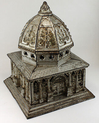 Large Cast Iron Antique Columbia Toy Bank Building