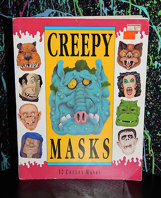 VINTAGE CREEPY MASKS BOOK halloween punch-out mask zombie witch humor RARE 1993 (Zombie Halloween Book)