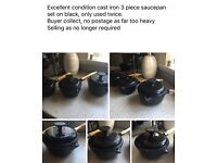 3 piece case iron saucepan set