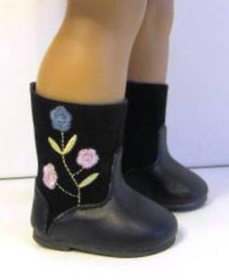 BLACK EMBROIDERED FLOWER BOOTS Fits 18