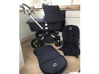 Limited edition classic navy bugaboo cameleon 3 with footmuff seat liner adapters