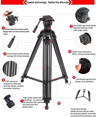 "DIAT 67"" Pro Video Camera Tripod With Fluid Head Stative stabilizer folded"