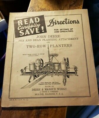 1941 John Deere Pea Bean Planting Attachment On Two Row Planters Operators Man
